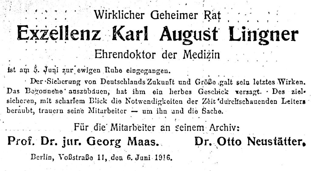Das Politisch wissenschaftliche Archiv gibt den Tod Lingners bekannt.