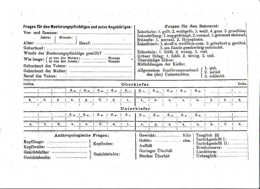 Erfassungsbogen zur Zahngesundheit für statistische Massenerhebungen