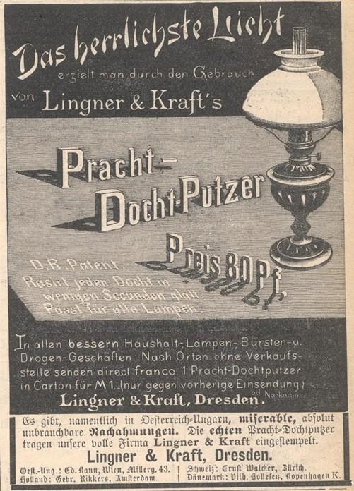 Reklame für den Dochtputzer von Lingner & Kraft