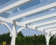 Terrassendach, Carport, Leimholz Unterkonsatruktion mit 2 x 14 cm/14cm Leimholzpfosten ohne Dacheindeckung