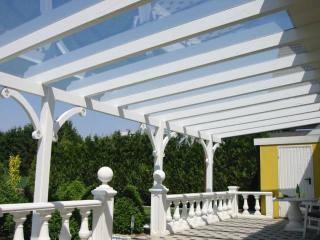 Terrassendach Leimholz weiß mit Sicherheits-Glas