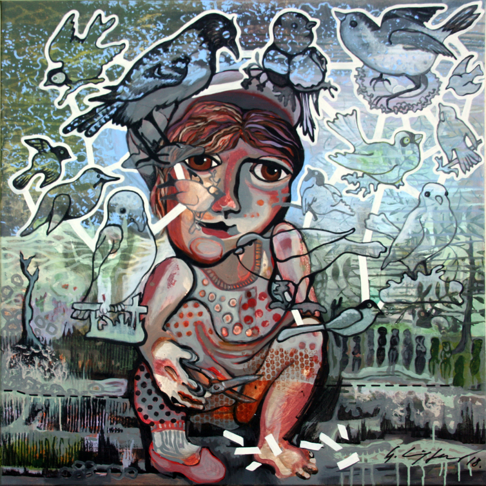 """Where have all the birds gone?"" Acryl auf Leinen 100x100"