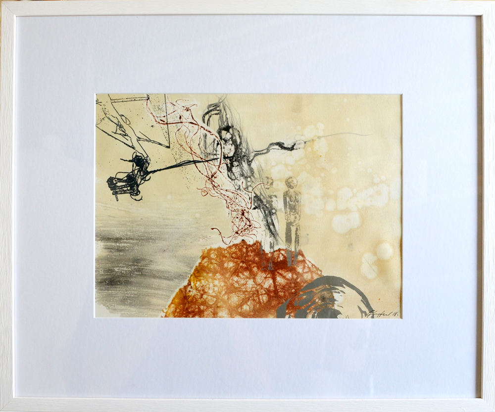 "Series ""Living Tender"" 50x60 incl. Frame monotype / screenprint"