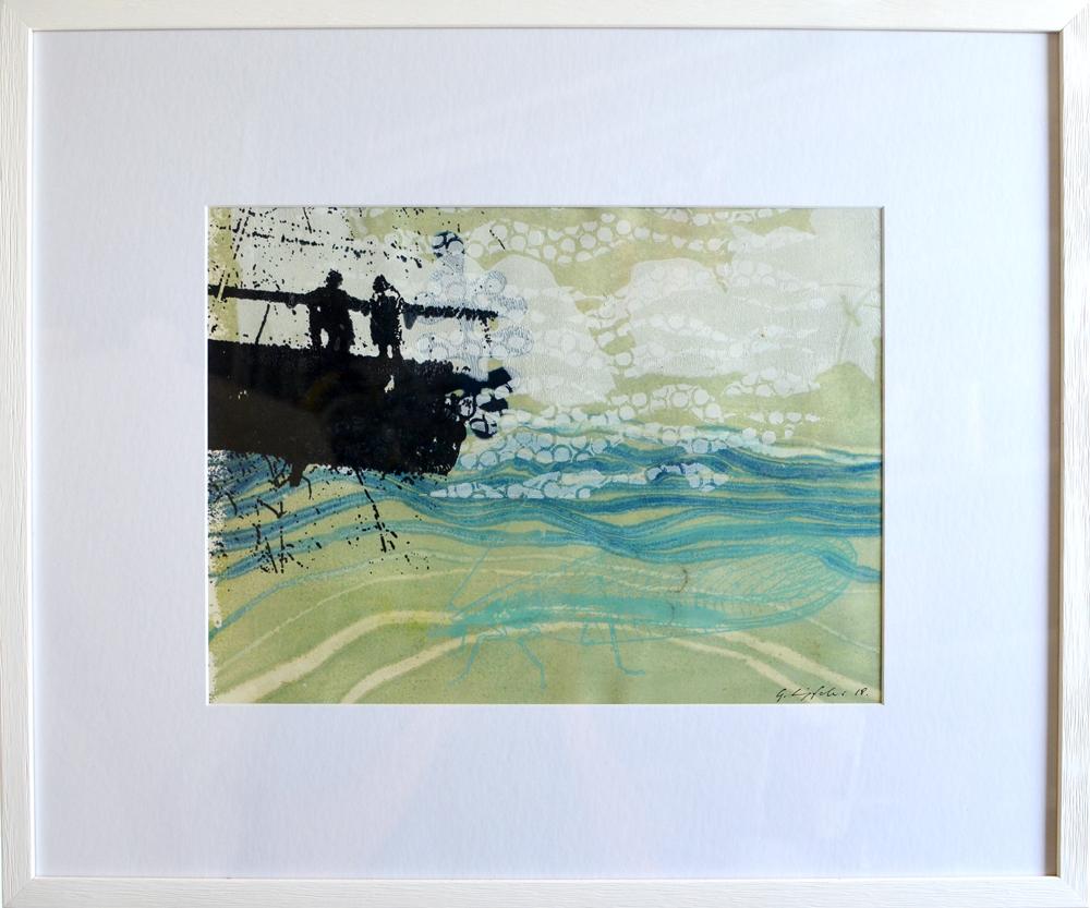 """Serie """"Lebendiges Zartes"""" 50x60 inkl. Rahmen Monotypie / Siebdruck"""