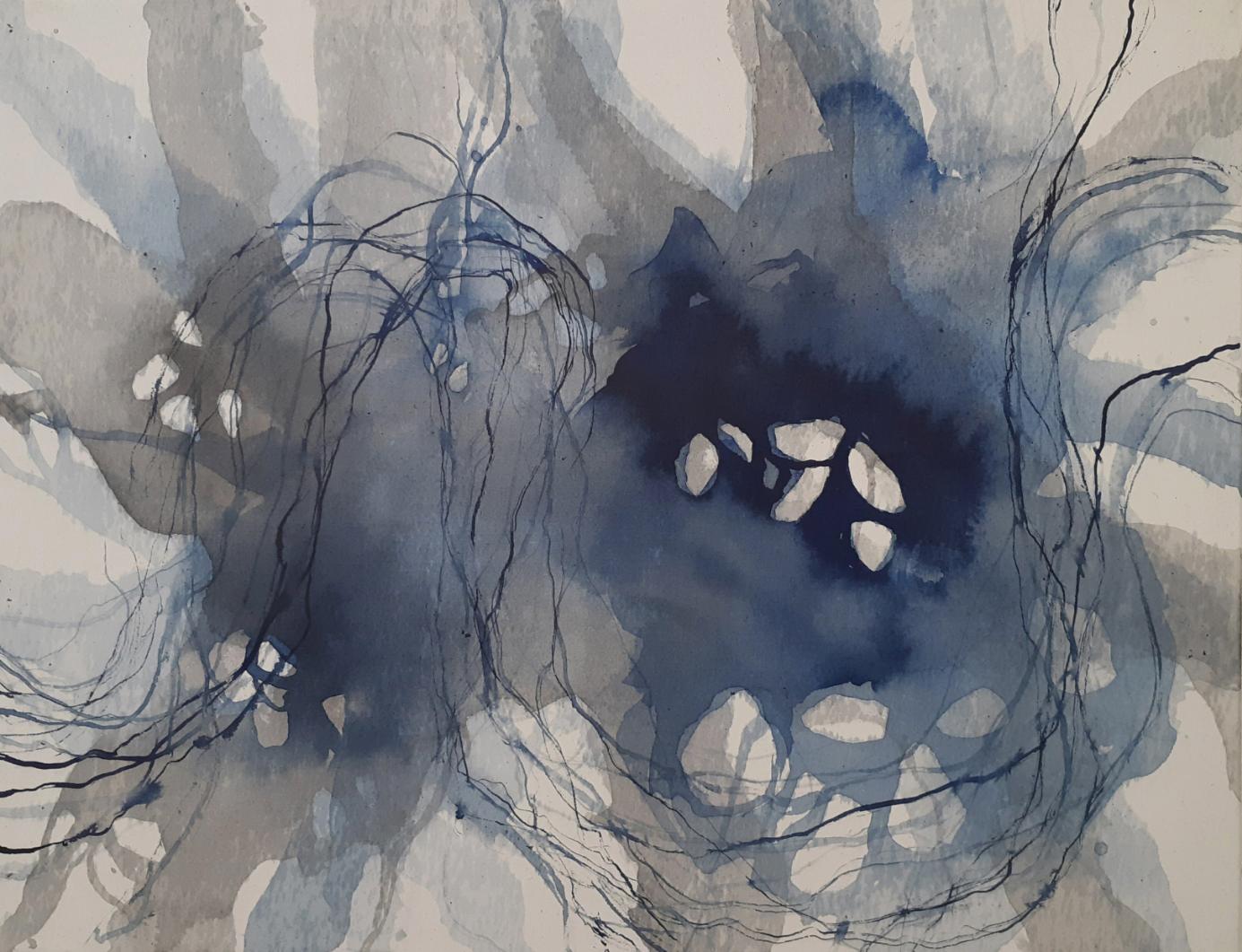 Serie 'Traces' 2020 - Blaue Tusche auf Baumwollstoff / blue ink on canvas  - 90 x 70cm