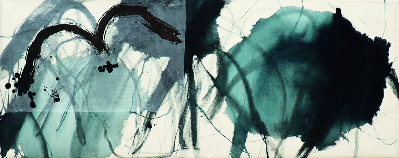 SOLD_'Bird' - Tusche auf Leinwand / ink on canvas - 150 x 60 cm