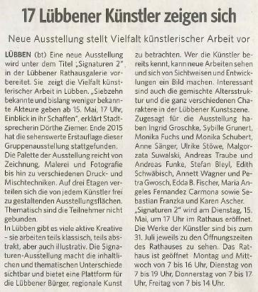 """Artikel zu """"Signaturen 2"""" aus der Lausitzer Woche vom 12./13.5.2018"""