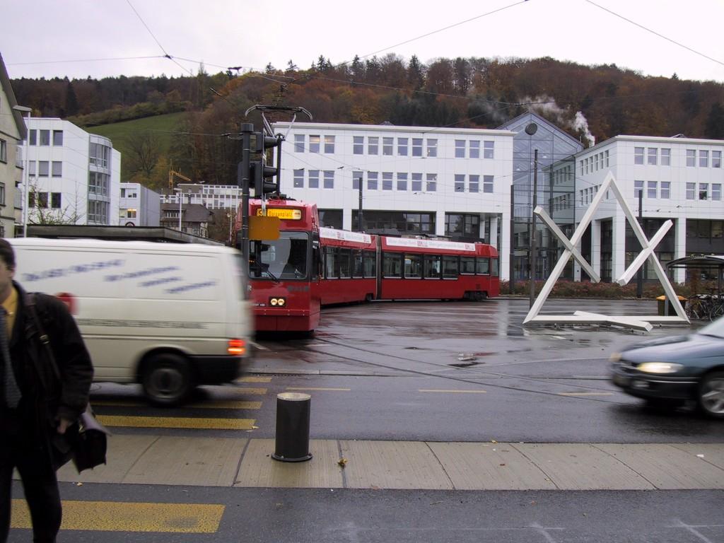 Départ du tram 9 au terminus à Wabern (Köniz), près de Berne