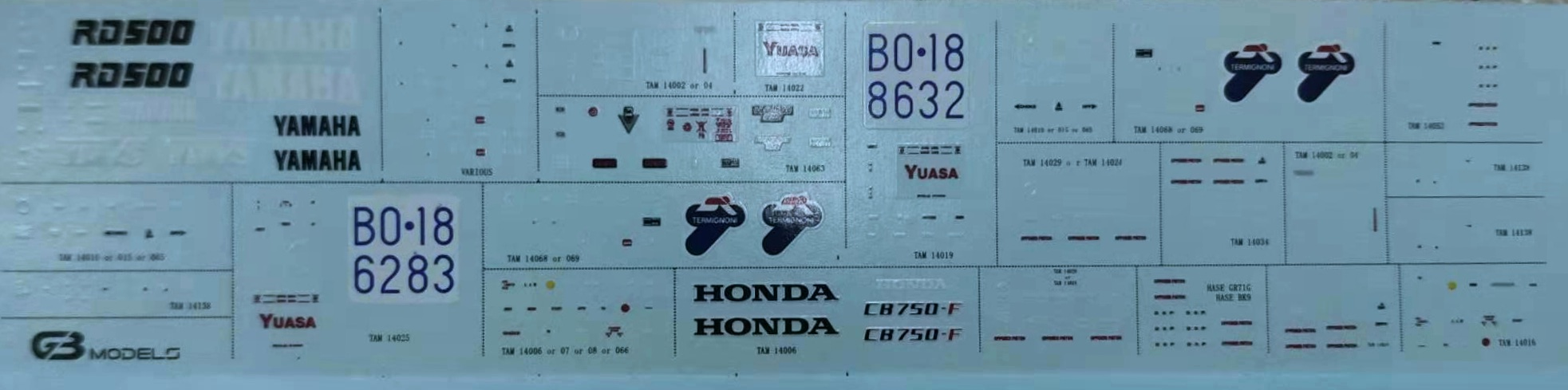 MULTIPLE-ITEMS DECALS  FOR TAMIYA/HASEGAWA.   GB12-D06