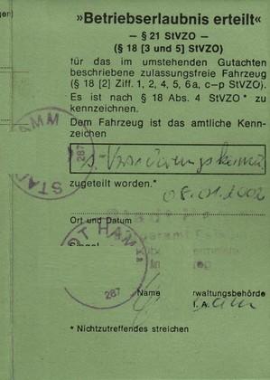 Betriebserlaubnis- Bestätigung von 2002, damals wohnte ich in Hamm!