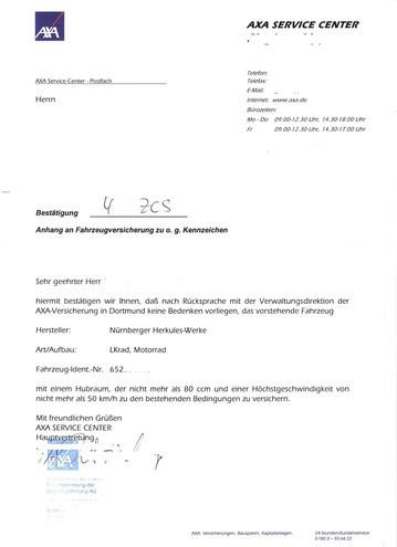 Versicherungsbestätigung der AXA für die MK2 aus 2005