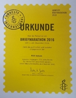 Die Urkunde von Amnesty International Berlin