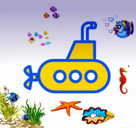 Dieses Bild zeigt ein yellow submarine, das witzigerweise in einem Aquarium herumfährt.