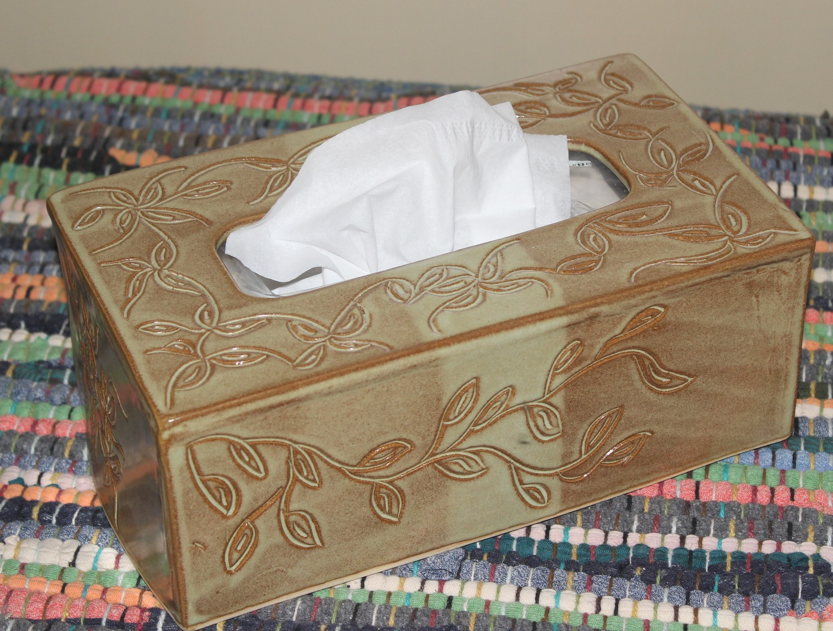 Hand Carved Tissue Box Cover