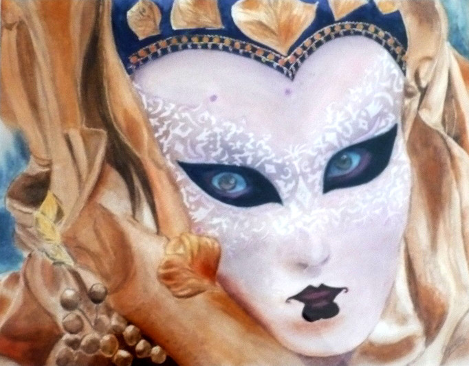 Evelyne - Masque doré - Aquarelle