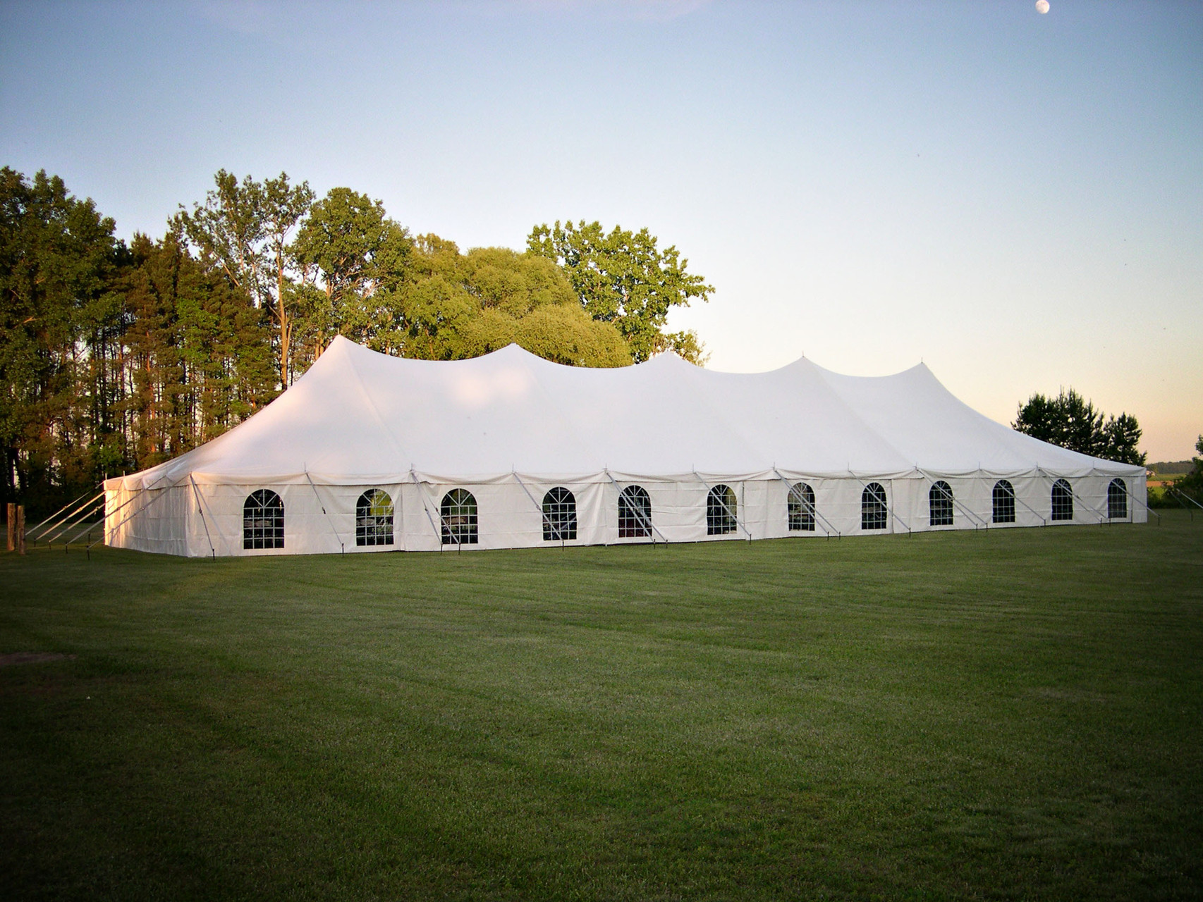 40 x 120 Wedding tent with windows and solid white side walls