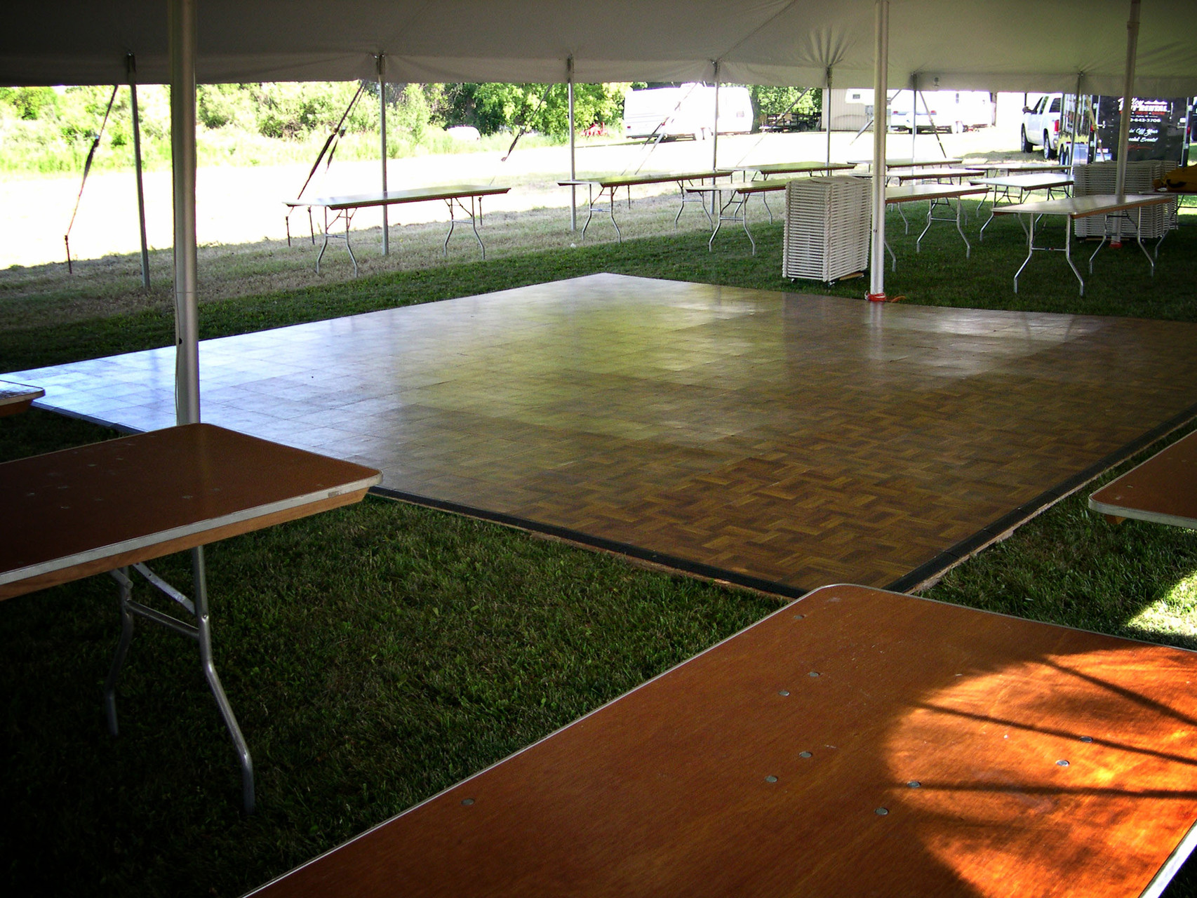 20 x 20 Dance floor shown with smaller sizes available