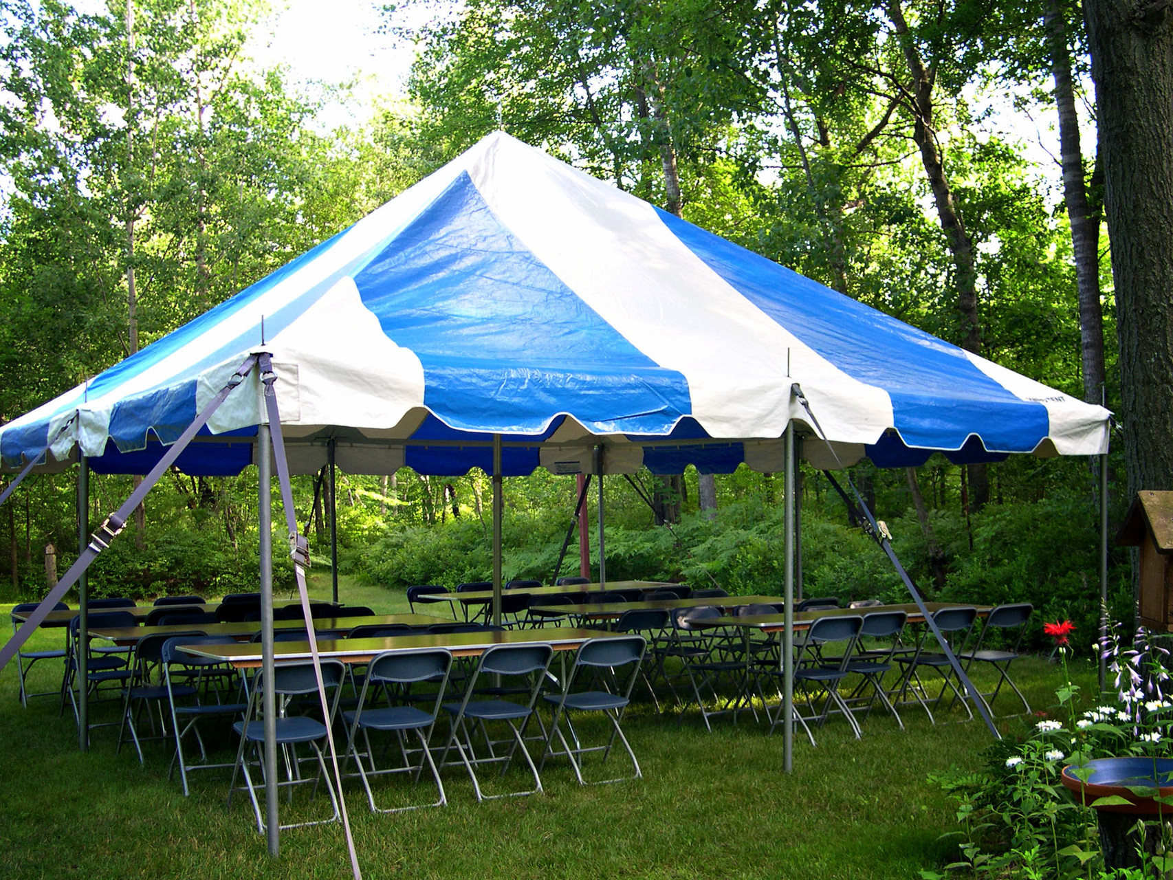 20 x 20 Pole tent with 6 tables and 48 chairs