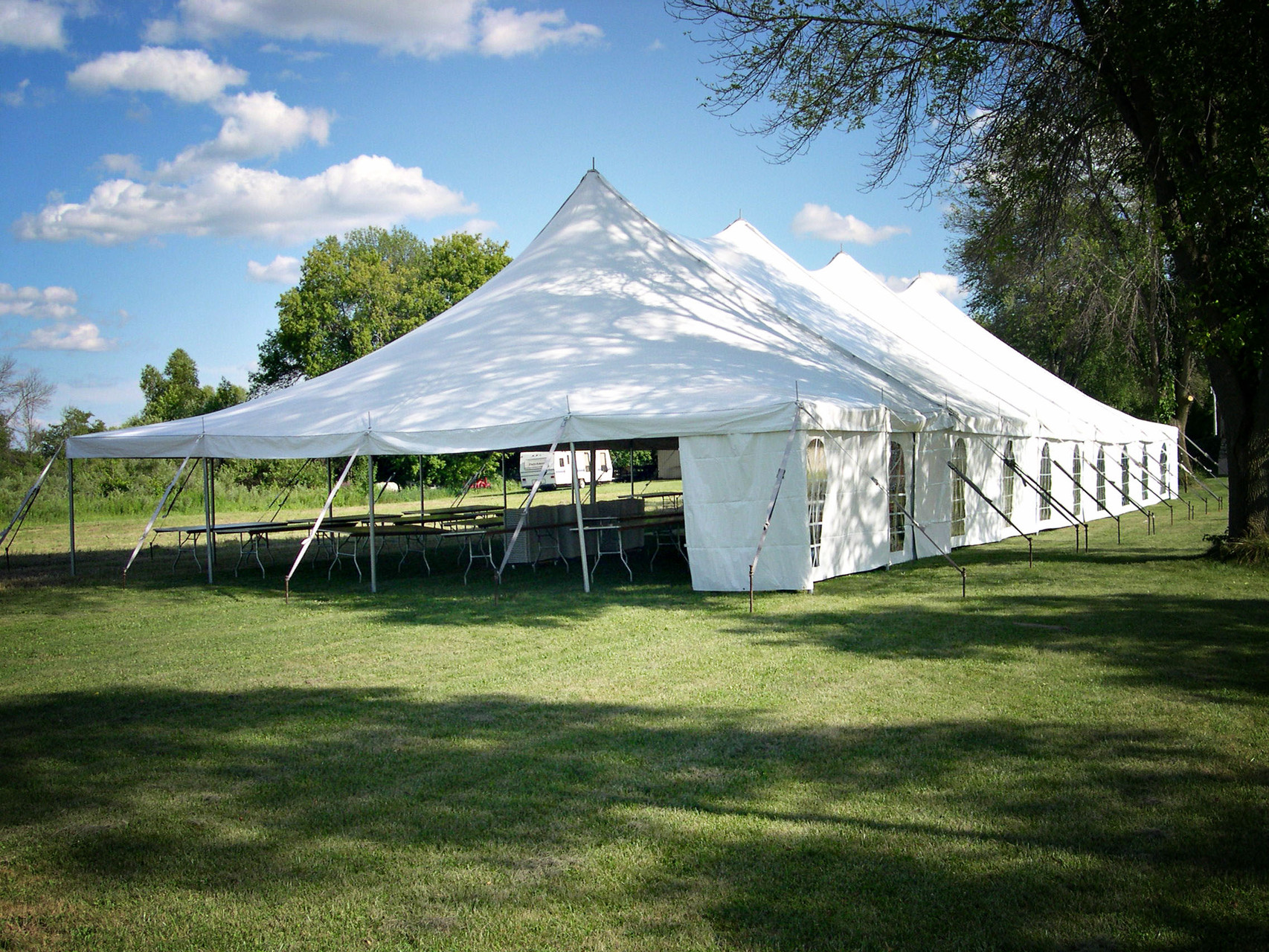 40 x 100 Wedding tent will seat over 380 people with room for a dance floor
