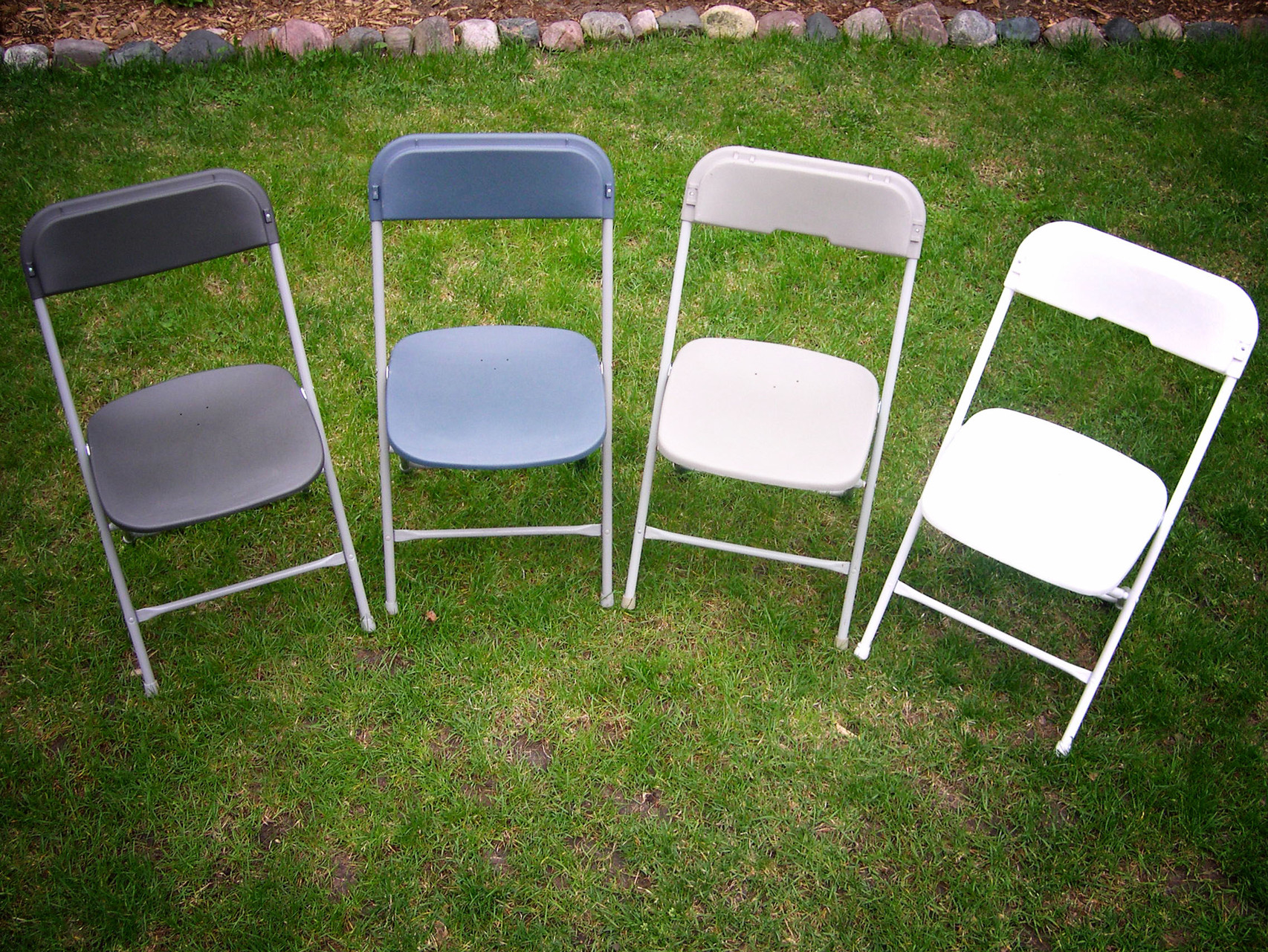We offer 4 colors of chairs: dark gray, slate blue, light gray and white
