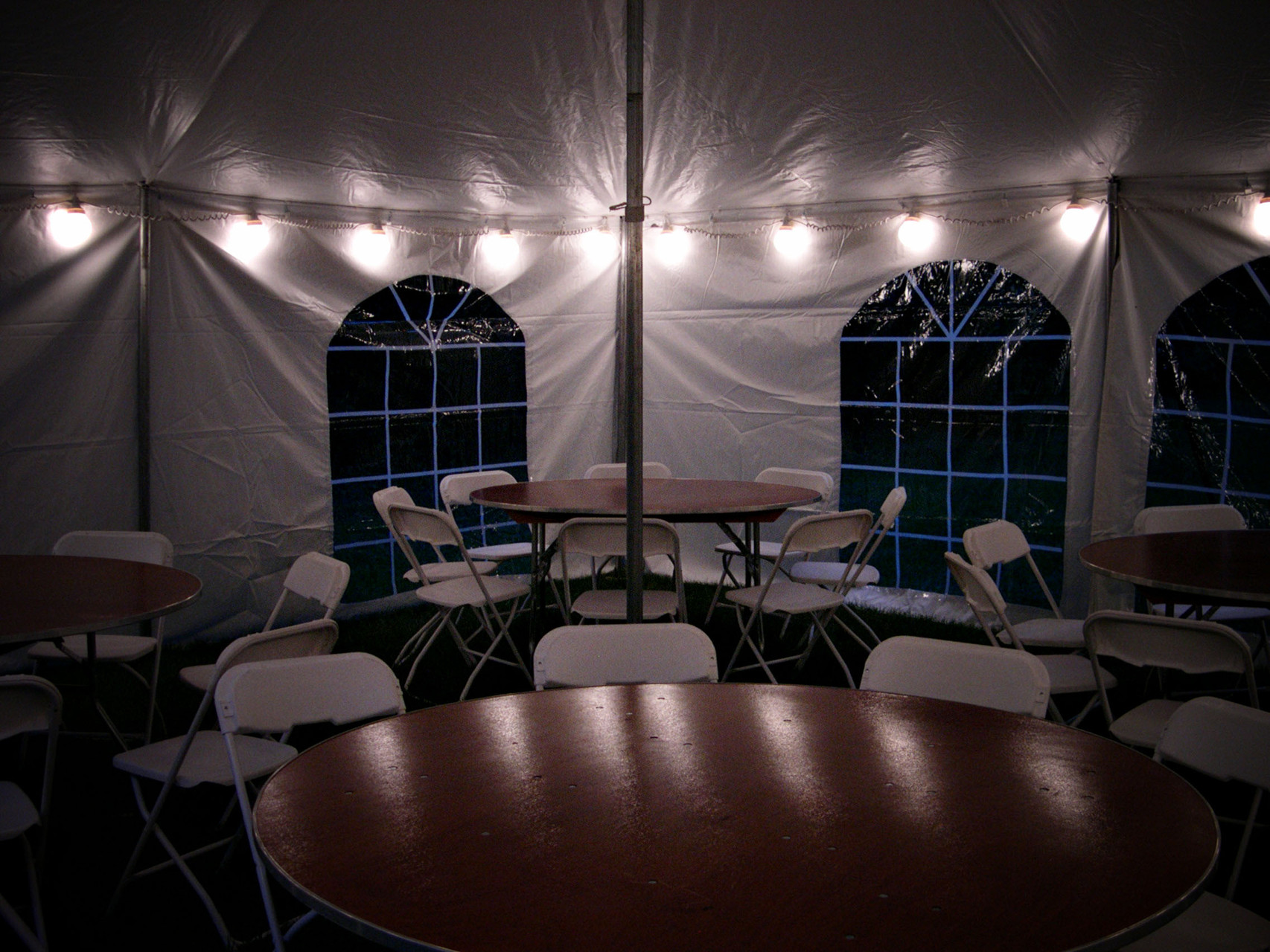 We offer globe string lights which go around the perimeter of the tent