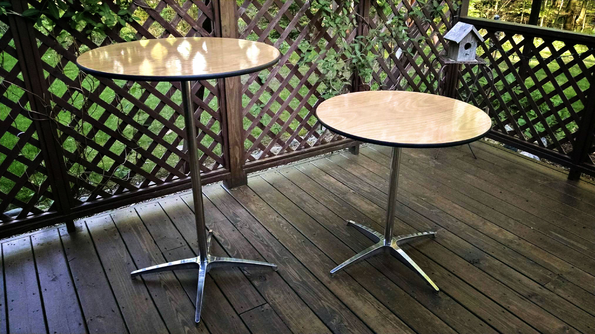 "30"" Cocktail tables.  Available in two heights: 30"" & 42"""