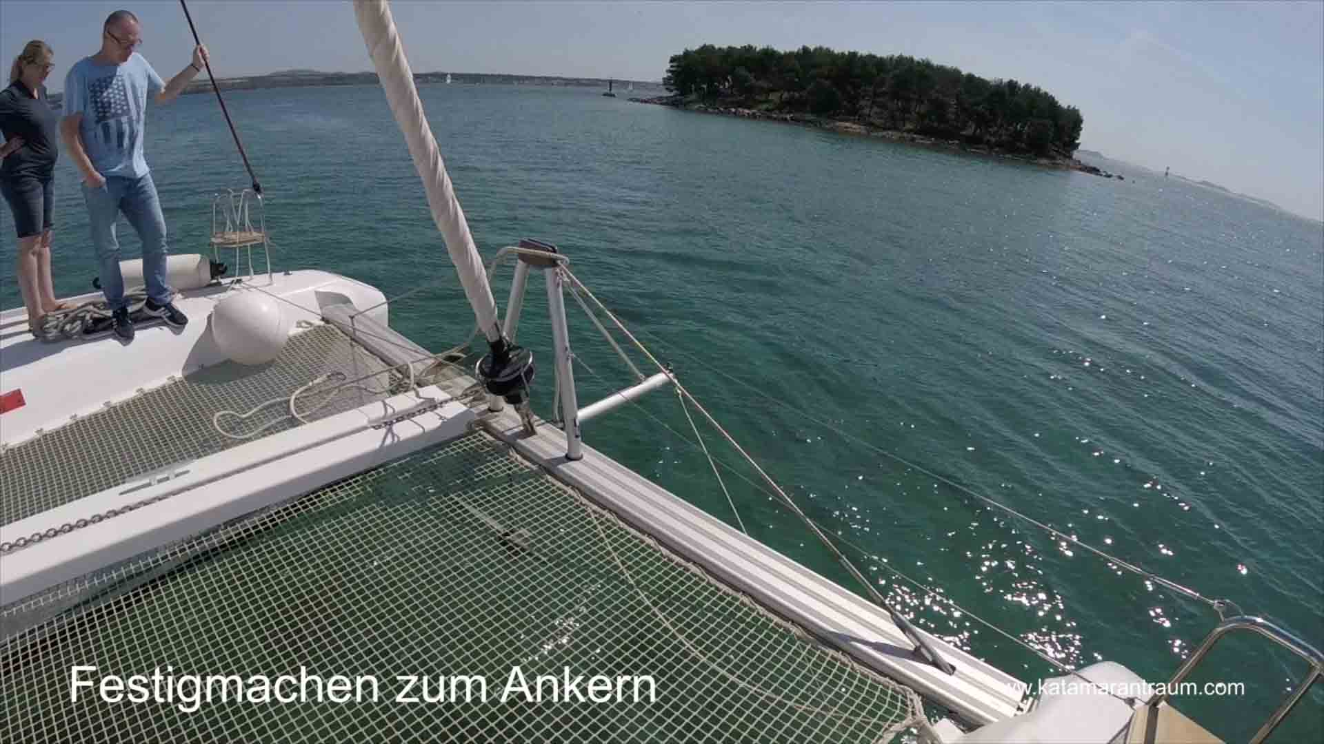 Preparation for anchoring during catamaran training