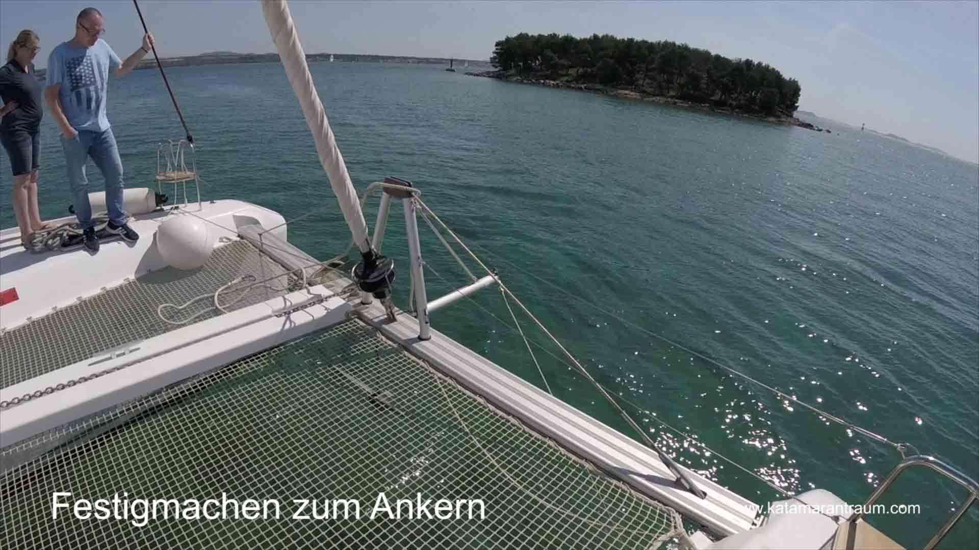 Preparation for anchoring during catamaran training