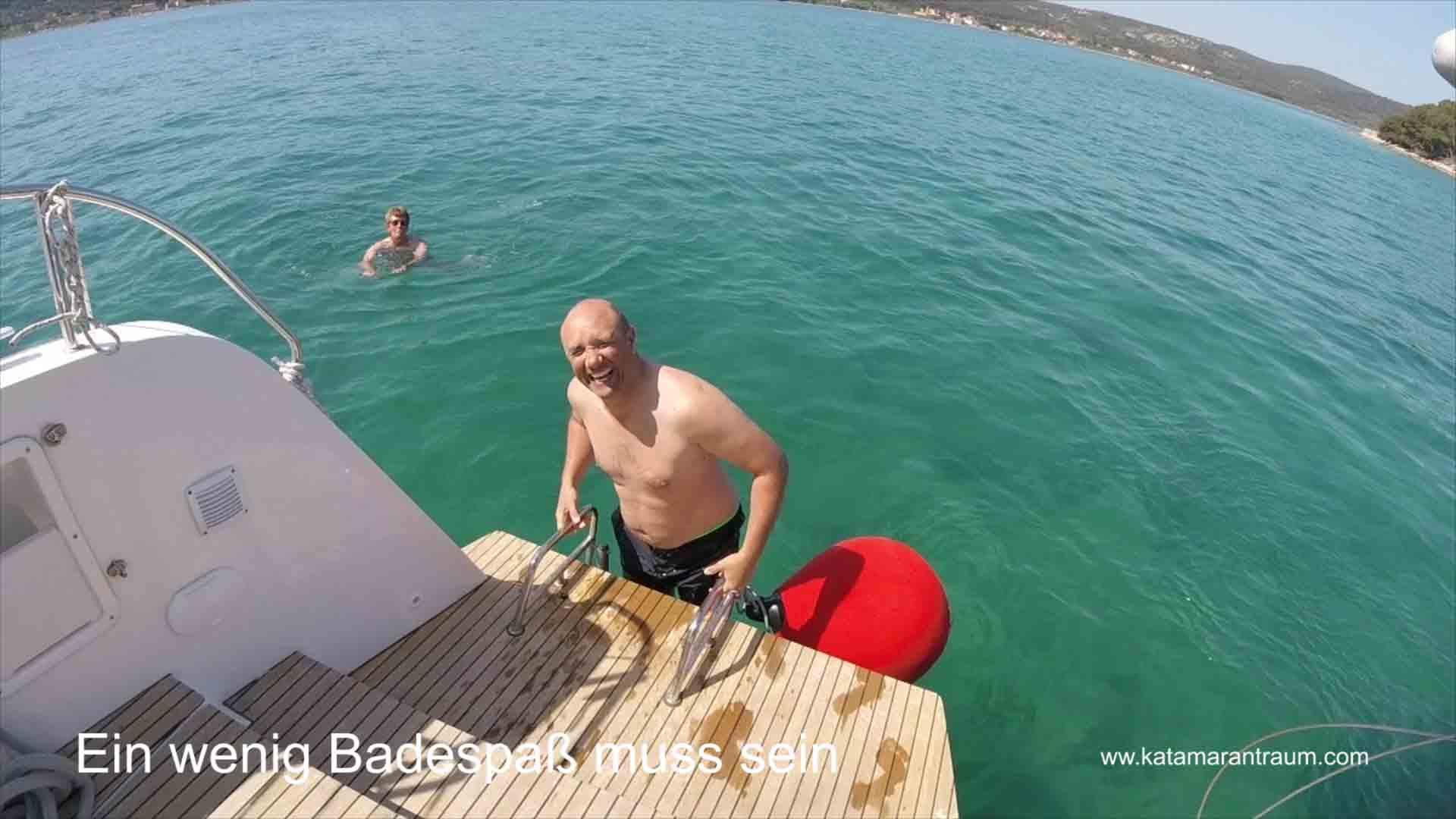 In catamaran training week, bathing fun is allowed