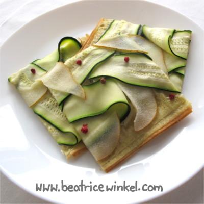 vegan Zucchini Pear Tarte Flambee