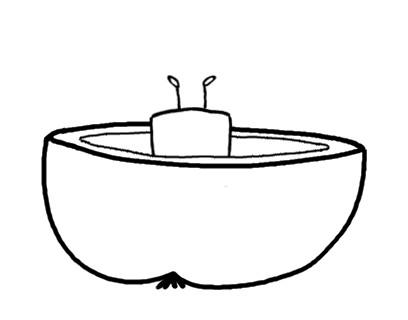 Beatrice Winkel - Trixilie knabbert das Apfel-Boot