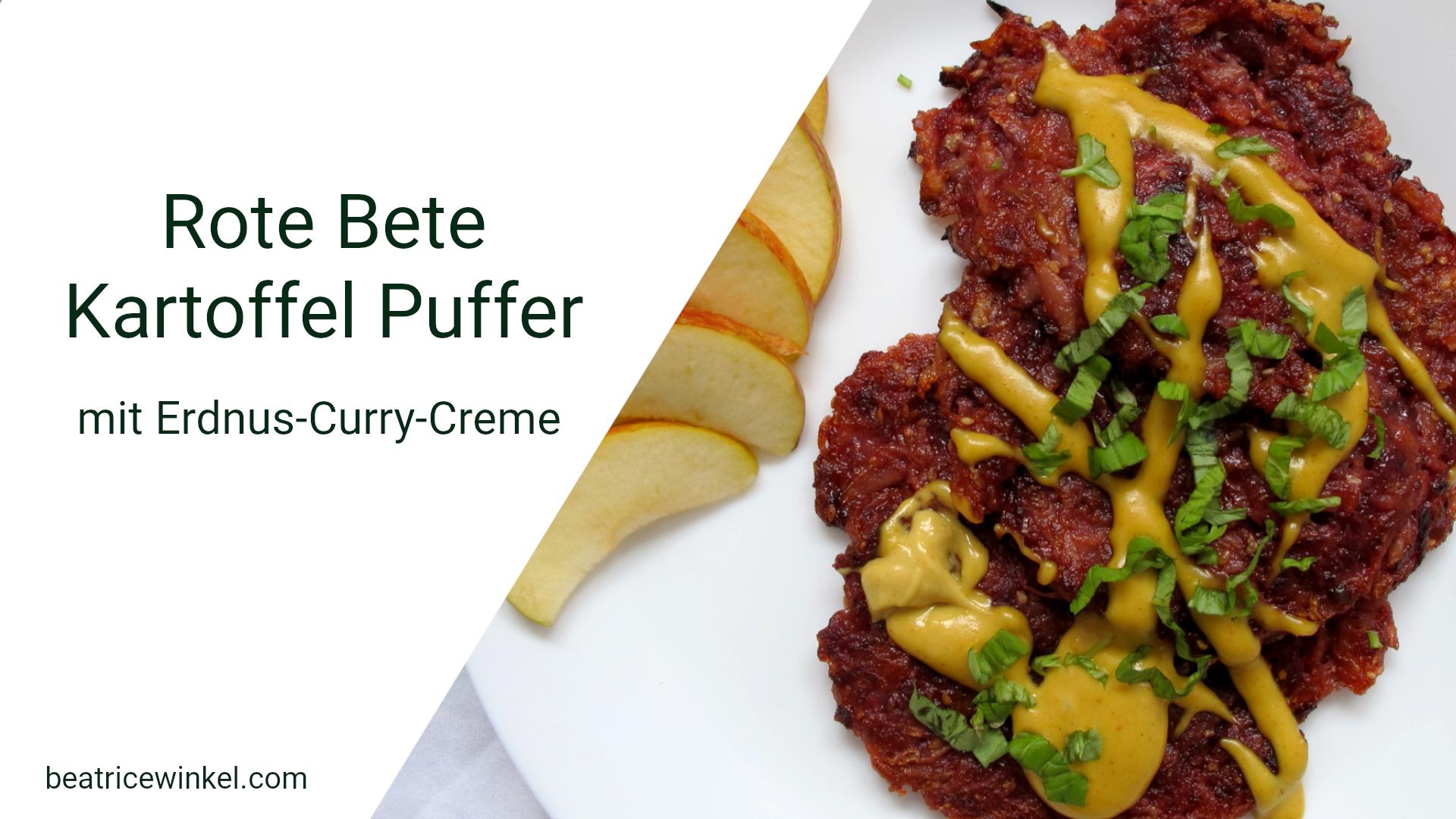 Rote Bete Kartoffel Taler mit Erdnuss-Curry-Creme
