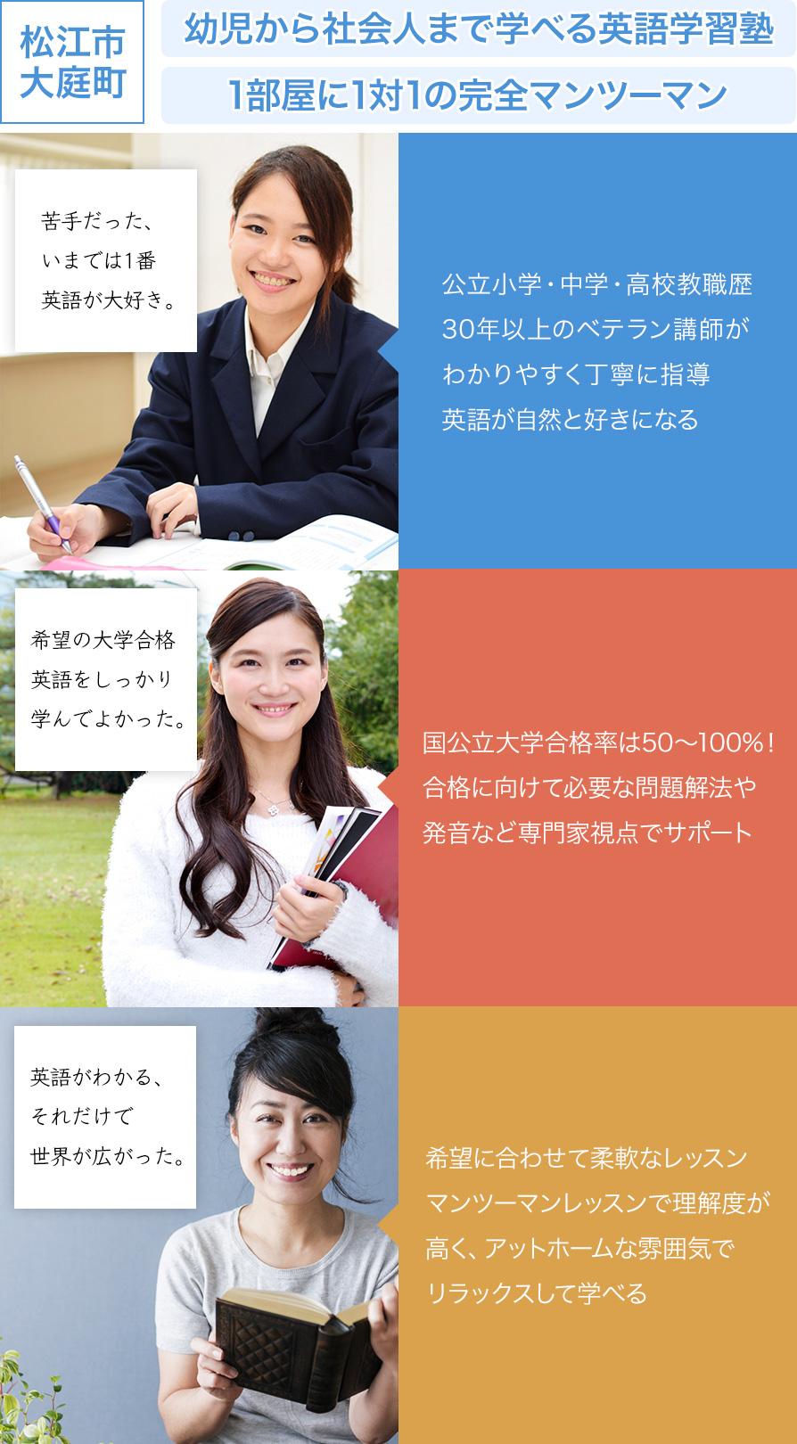 松江市大庭町の英語学習塾 Katie English Seminar 1部屋に1対1の完全マンツーマン