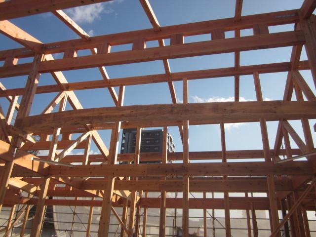 上棟時の写真です。木造で大空間を可能にします。