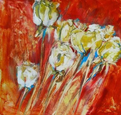 Série 'Rose blanche', monotype rehaussé d'acrylique, 25cmx25cm, 2012@mstjean