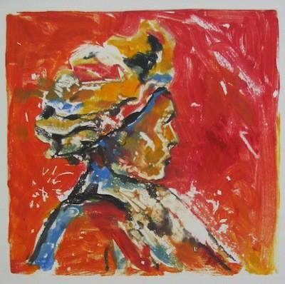 Dame au turban, monotype, 30cm x 30cm, 2011 @ mstjean