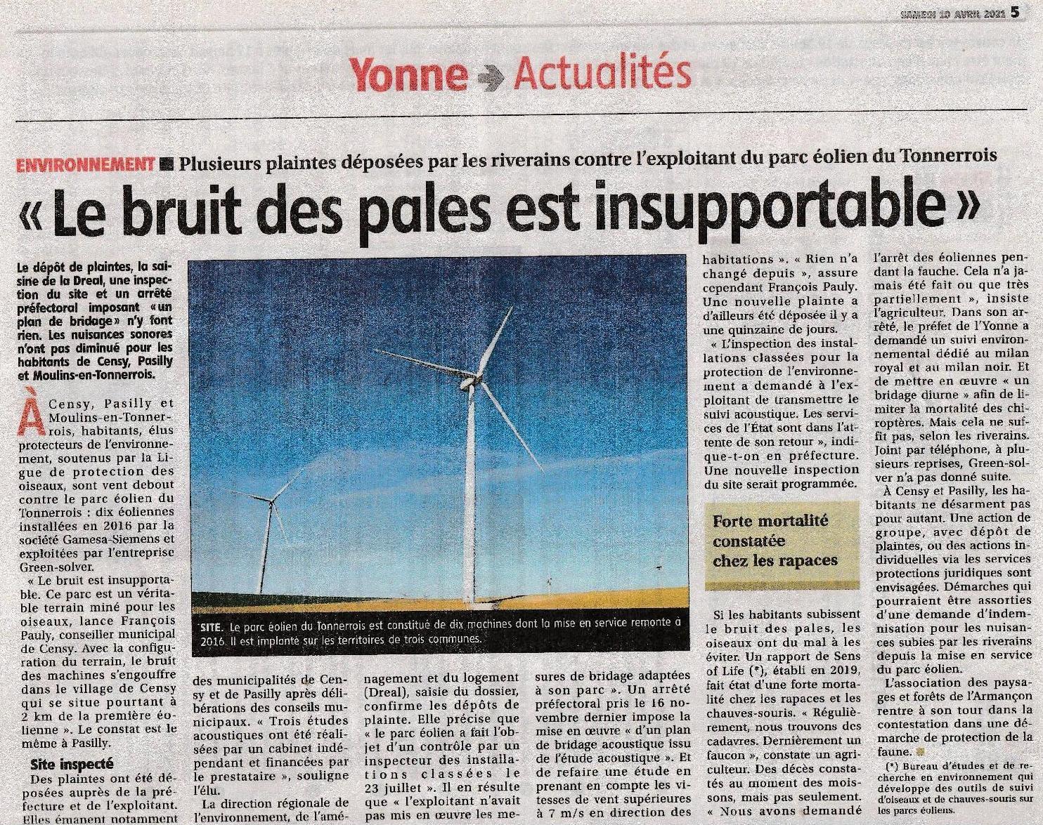 L'Yonne Républicaine - 10/04/2021 : Plaintes des riverains du parc éolien du Tonnerrois