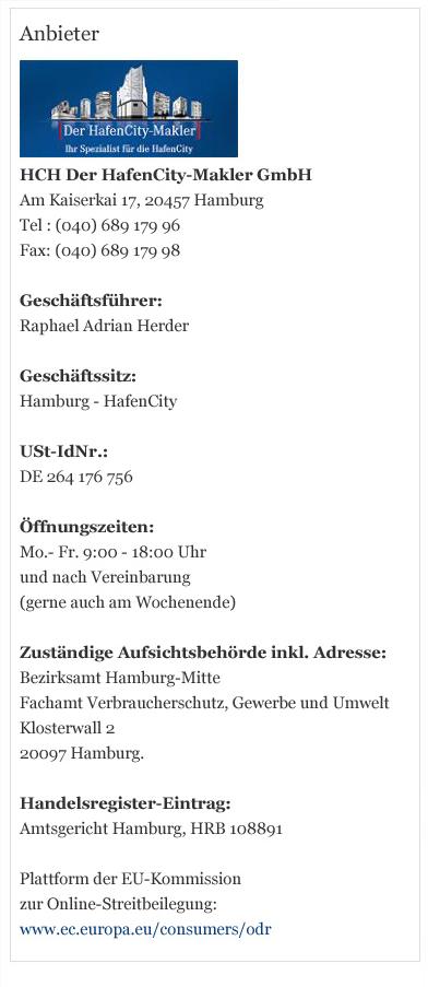 Kontaktdaten von HCH Der HafenCity-Makler GmbH