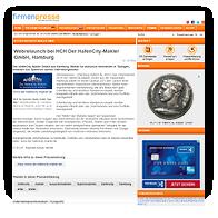 """Grafik: Webscreen FIRMENPRESSE - Pressemitteilung """"Webrelaunch bei HCH Der HafenCity-Makler GmbH, Hamburg"""""""