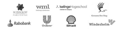 Logo's van een aantal bedrijven die slaapworkshops bij Somnio hebben geboekt: de Persgroep, Rabobank, WMA, Unilever, Iselingen Hogeschool, Shell, Gemeente Den Haag, Windesheim