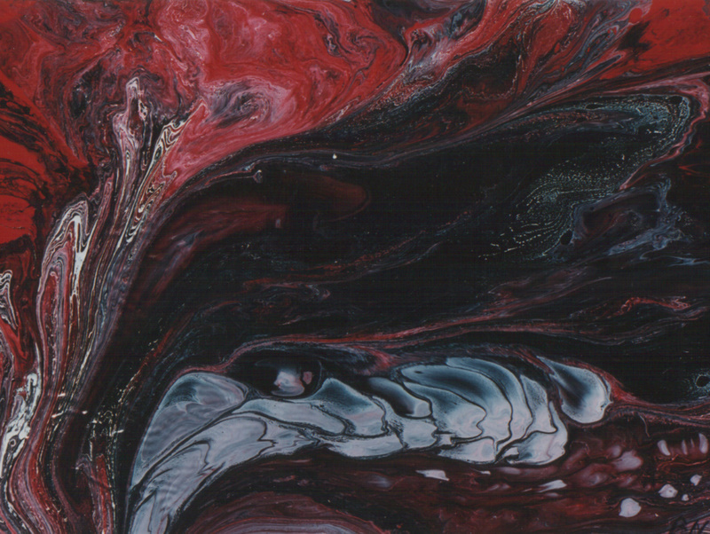 Bild Nr. 41 Das Feuer © m. Rahmen Maß 40 x 30 Lack/Öl auf Papier