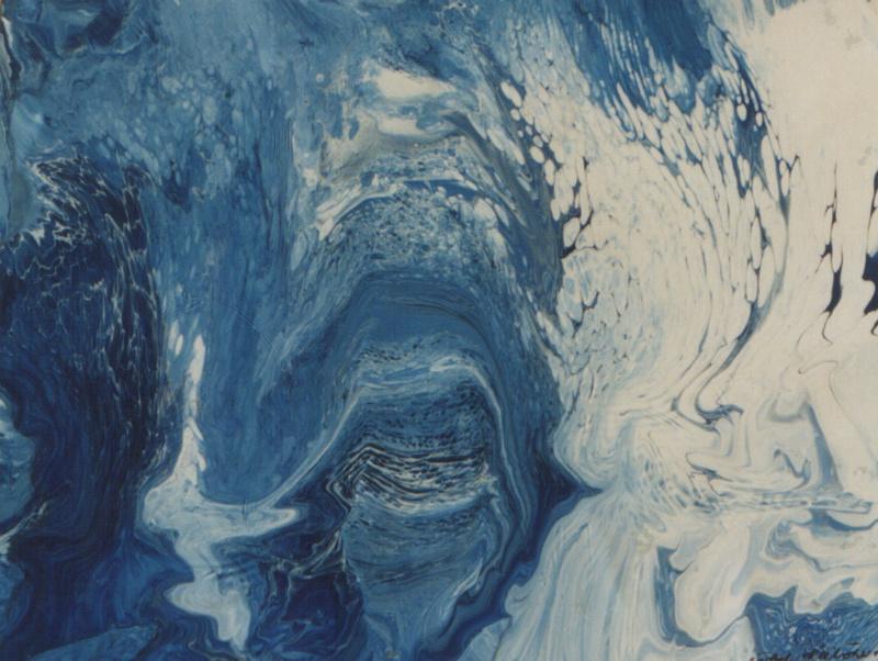 Bild Nr. 14 Grotte © mit Rahmen  Maß 60 x 65 Lack/Öl auf Papier