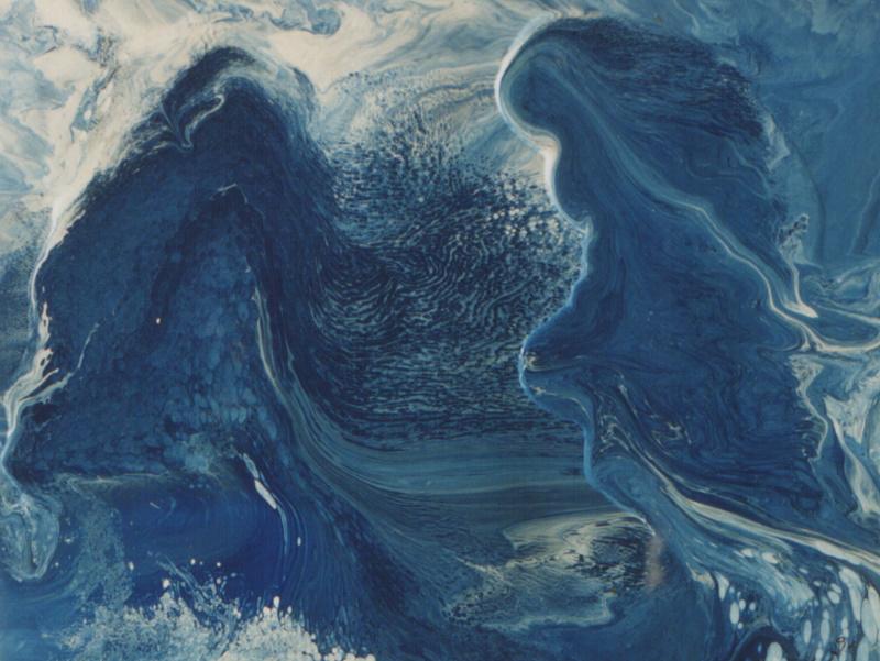 Bild Nr. 13 Seejungfrauen m. Rahmen © Maß 65 x 50 Lack/Öl auf Papier