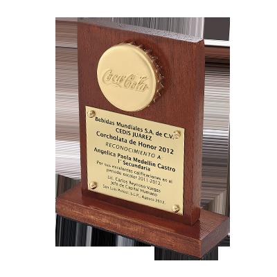 #moneda en chapa de oro, 4cm, en base de #madera caoba, 12cm, con placa personalizada #fotograbada, cod.54354