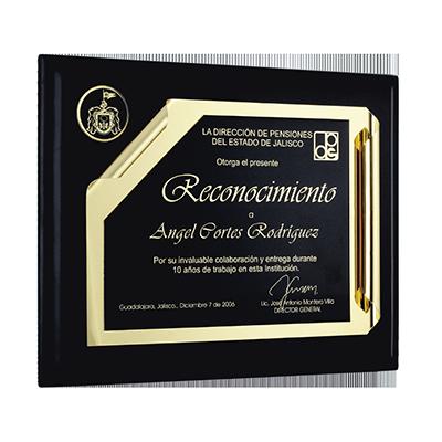#reconocimiento tipo pergamino, fotograbado y pavonado en negro, tamaño carta, con moneda 5cm, chapa en oro, cod.76876