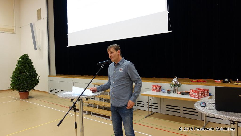 André Muhmenthaler, Gemeinderat und Ressortchef Feuerwehr bei der Ansprache