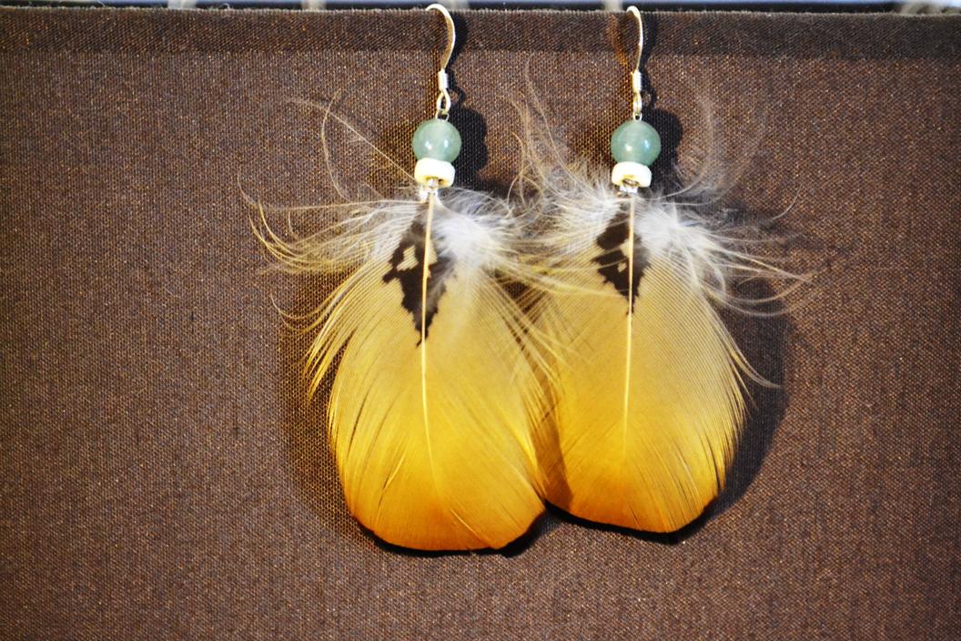 Boucles argent, perles azurite, plumes Faisan