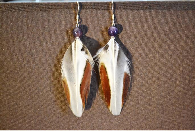 Boucles argent, perles Améthyste, plumes Faisan