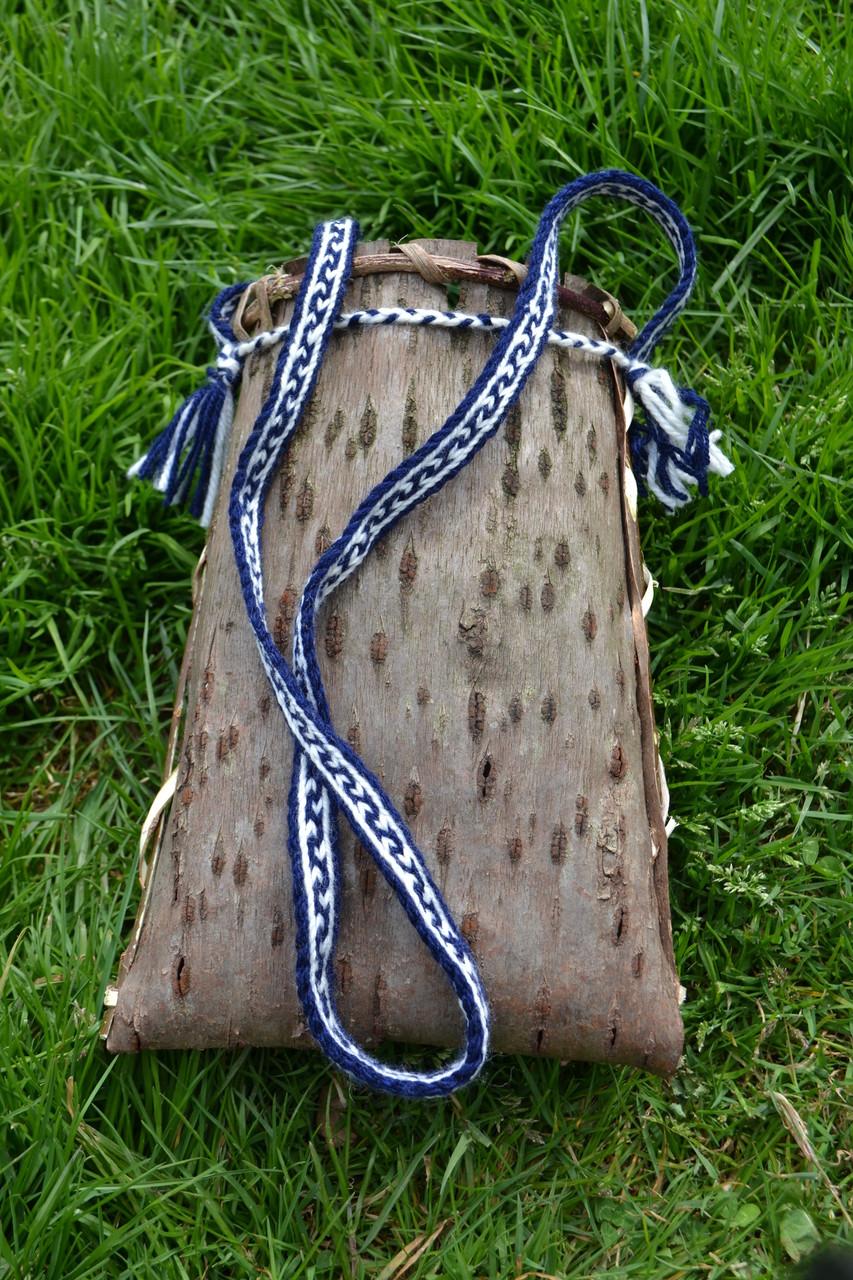 Vannerie écorce de merisier anse galon laine
