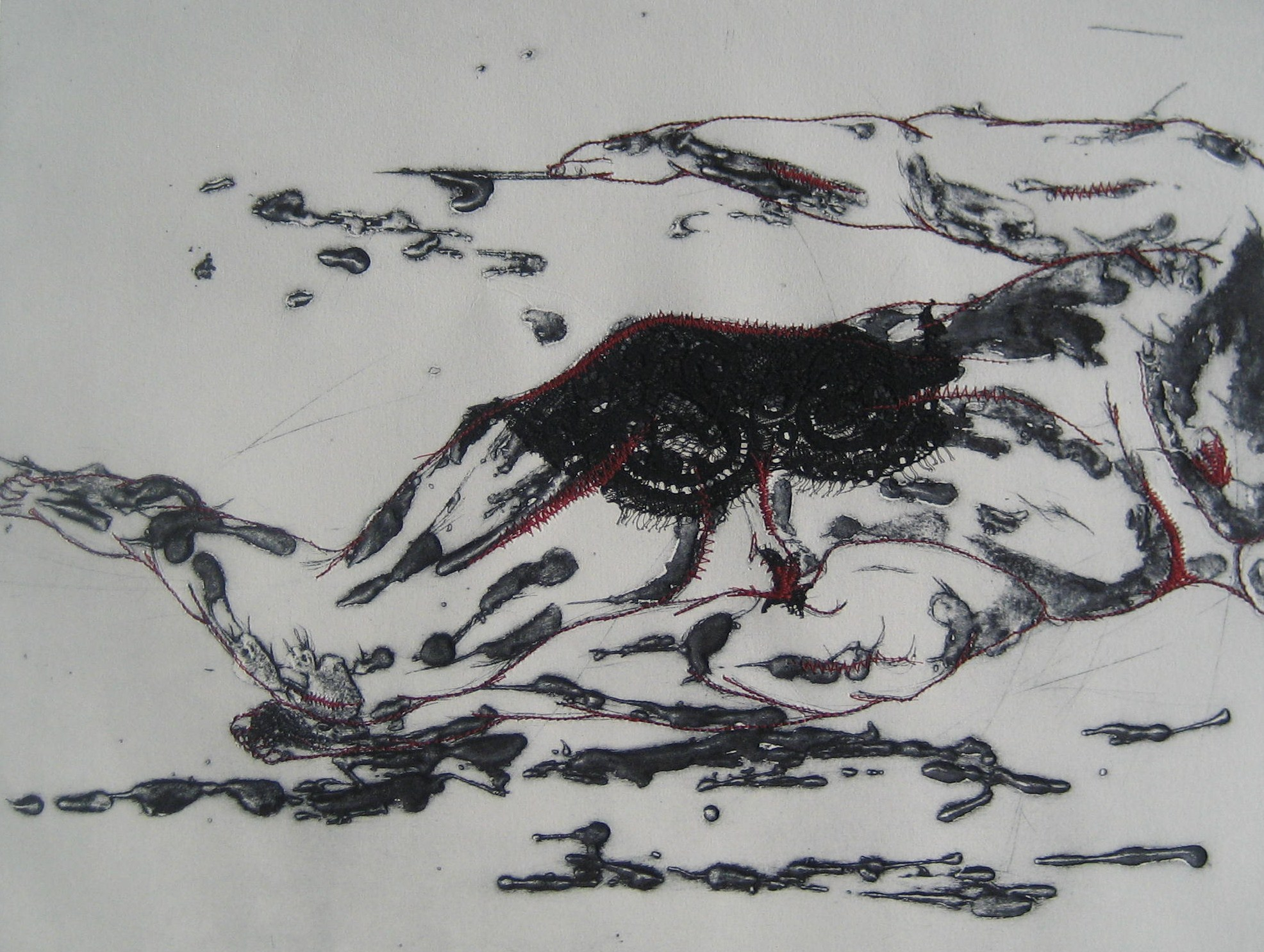 La Couverture - Pointe sèche et carborundum sur zinc, dentelle de Calais et couture - 2012